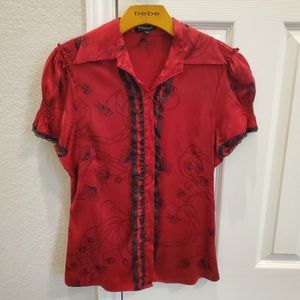 Red and black semi floral top